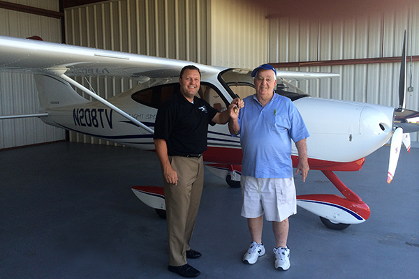From left to right: Shannon Yeager, Director of Sales Tecnam USA Inc. with Don Vinik, proud Tecnam P2008TC owner.