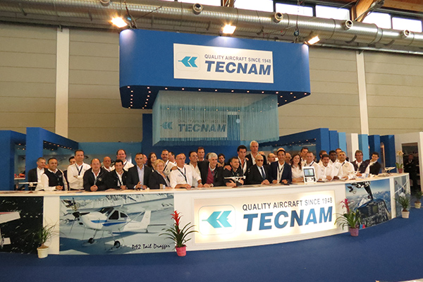 Tecnam 2014 Aero Friedrichshafen team, featuring representatives for over 25 Tecnam customer service territories.