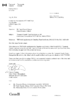 Transport Canada Letter 5010-A739 (12163913) – Approval of TECNAM Model P2010